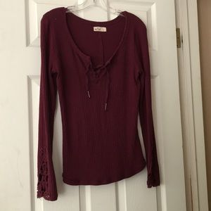 Hollister Lace Up Burgundy Thermal Top